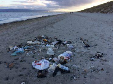 Plastic Bags litter beach Ireland.