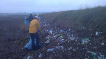 Plastic litter on beach in Dublin